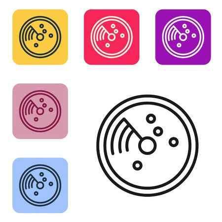 Black line Radar with targets on monitor in searching icon isolated on white background. Search system. Navy sonar. Set icons in color square buttons. Vector Illustration Ilustrace
