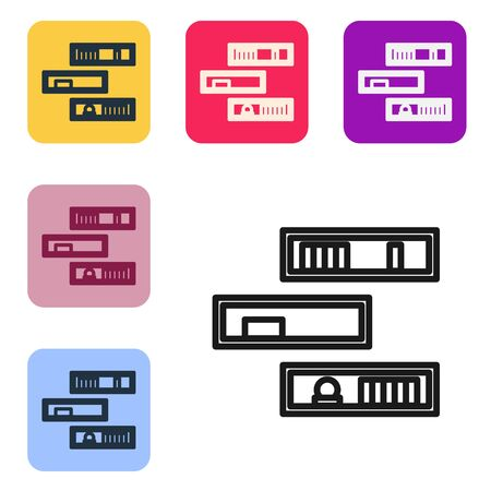 Black line Shelf with books icon isolated on white background. Shelves sign. Set icons in color square buttons. Vector Illustration
