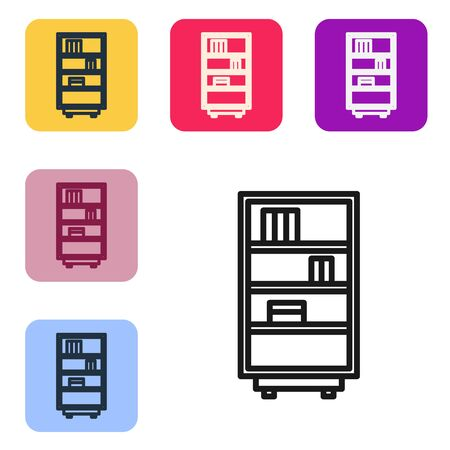 Black line Library bookshelf icon isolated on white background. Set icons in color square buttons. Vector Illustration