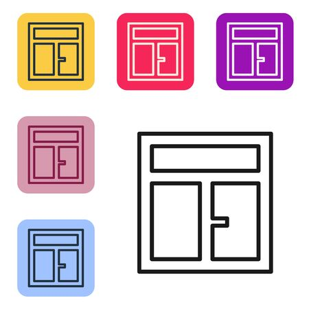Black line Window in the room icon isolated on white background. Set icons in color square buttons. Vector Illustration Ilustracja
