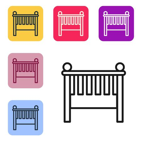 Black line Baby crib cradle bed icon isolated on white background. Set icons in color square buttons. Vector Illustration Иллюстрация