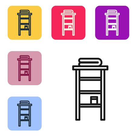Black line Bathroom rack with shelves for towels icon isolated on white background. Furniture object for bath room interior. Set icons in color square buttons. Vector Illustration Ilustrace