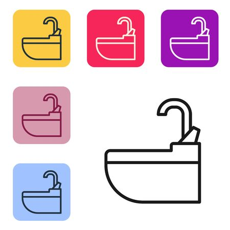 Black line Washbasin with water tap icon isolated on white background. Set icons in color square buttons. Vector Illustration