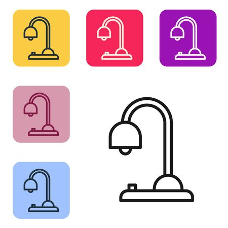 Black line Table lamp icon isolated on white background. Set icons in color square buttons. Vector Illustration