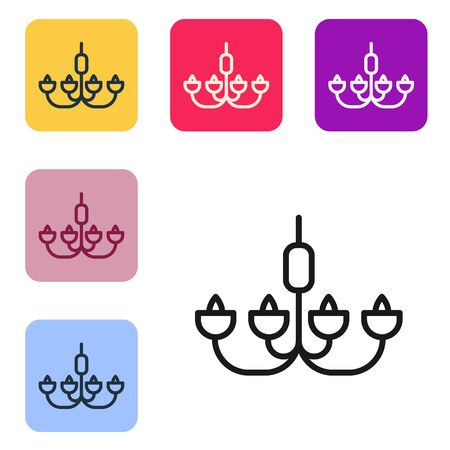 Black line Chandelier icon isolated on white background. Set icons in color square buttons. Vector Illustration