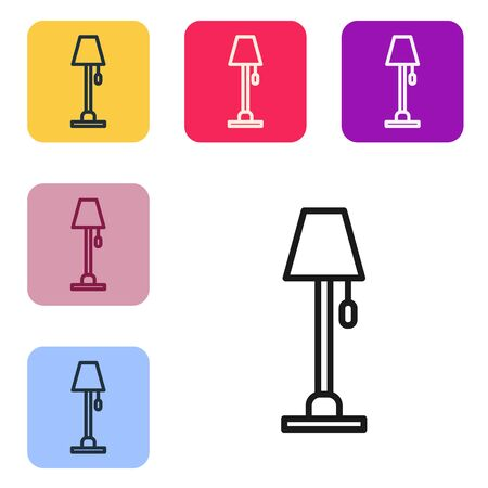 Black line Floor lamp icon isolated on white background. Set icons in color square buttons. Vector Illustration 矢量图像