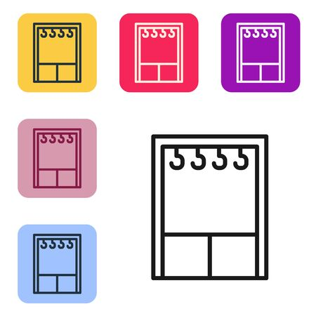 Black line Wardrobe icon isolated on white background. Set icons in color square buttons. Vector Illustration