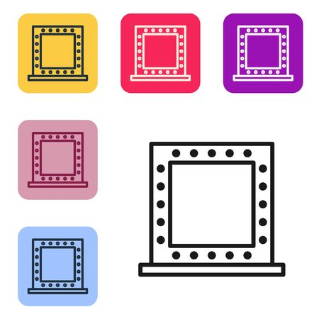 Black line Makeup mirror with lights icon isolated on white background. Set icons in color square buttons. Vector Illustration