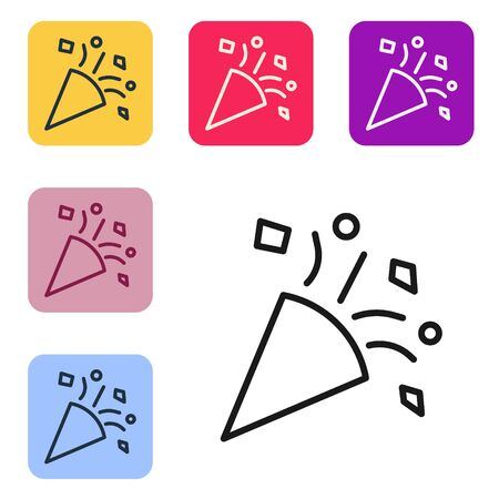Black line Festive confetti icon isolated on white background. Set icons in color square buttons. Vector Illustration