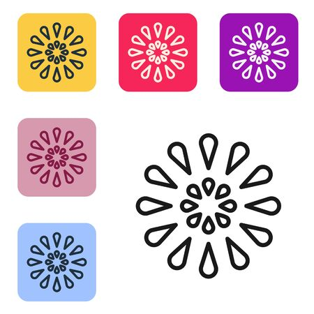 Black line Firework icon isolated on white background. Concept of fun party. Explosive pyrotechnic symbol. Set icons in color square buttons. Vector Illustration