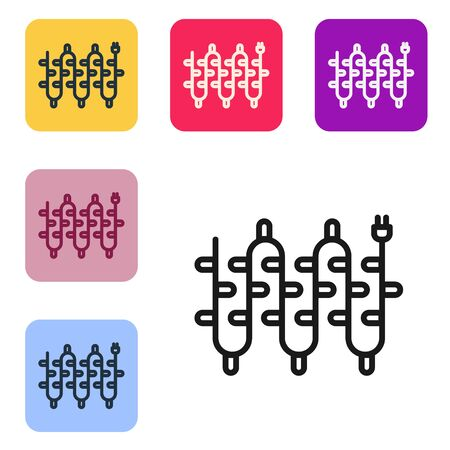 Black line Christmas lights icon isolated on white background. Merry Christmas and Happy New Year. Set icons in color square buttons. Vector Illustration Ilustracja