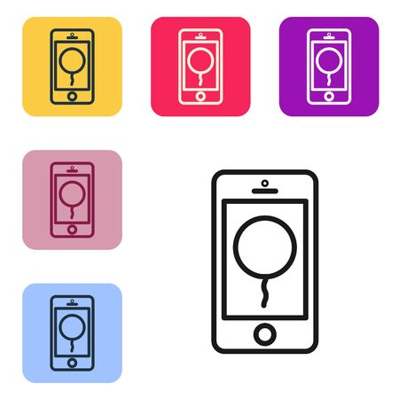 Black line Mobile phone with birthday message icon isolated on white background. Set icons in color square buttons. Vector Illustration