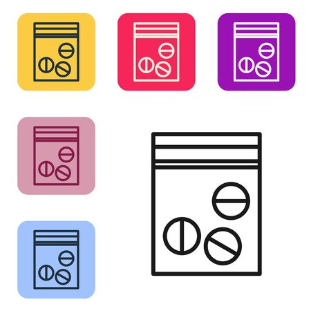 Black line Plastic bag of drug icon isolated on white background. Health danger. Set icons in color square buttons. Vector Illustration
