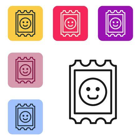 Black line LSD acid mark icon isolated on white background. Acid narcotic. Postmark. Postage stamp. Health danger. Set icons in color square buttons. Vector Illustration
