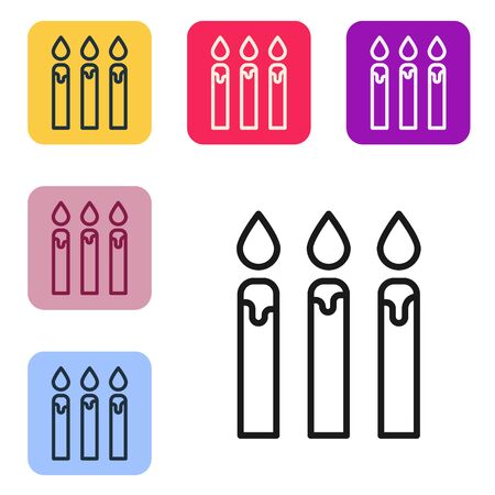 Black line Birthday cake candles icon isolated on white background. Set icons in color square buttons. Vector Illustration
