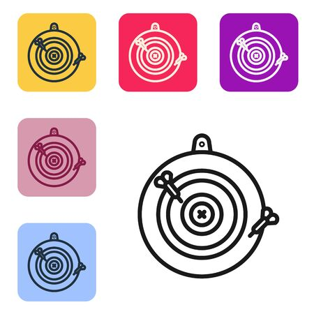 Black line Classic dart board and arrow icon isolated on white background. Dartboard sign. Game concept. Set icons in color square buttons. Vector Illustration Ilustrace