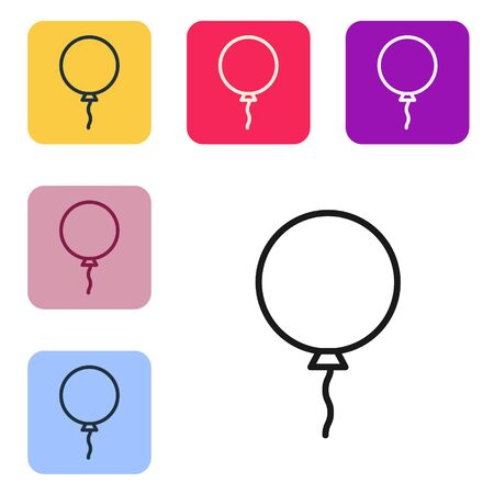 Black line Balloon with ribbon icon isolated on white background. Set icons in color square buttons. Vector Illustration