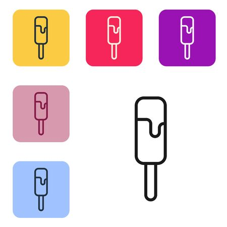 Black line Ice cream icon isolated on white background. Sweet symbol. Set icons in color square buttons. Vector Illustration Illustration