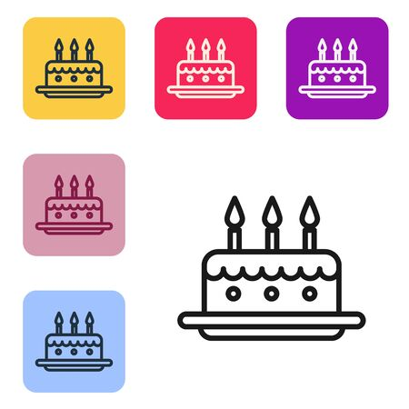 Black line Cake with burning candles icon isolated on white background. Happy Birthday. Set icons in color square buttons. Vector Illustration