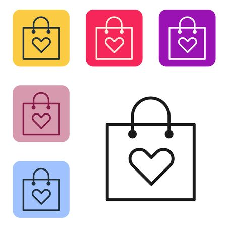 Black line Shopping bag with heart icon isolated on white background. Shopping bag shop love like heart icon. Valentines day symbol. Set icons in color square buttons. Vector Illustration Ilustrace