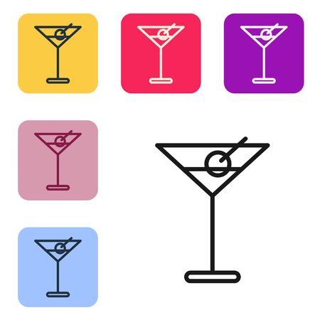 Black line Martini glass icon isolated on white background. Cocktail icon. Wine glass icon. Set icons in color square buttons. Vector Illustration