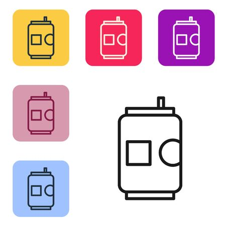Black line Beer can icon isolated on white background. Set icons in color square buttons. Vector Illustration