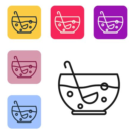 Black line Mixed punch with fresh fruits in bowl icon isolated on white background. Set icons in color square buttons. Vector Illustration
