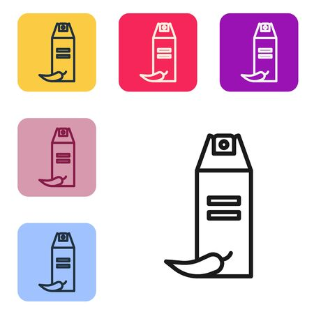 Black line Pepper spray icon isolated on white background. OC gas. Capsicum self defense aerosol. Set icons in color square buttons. Vector Illustration