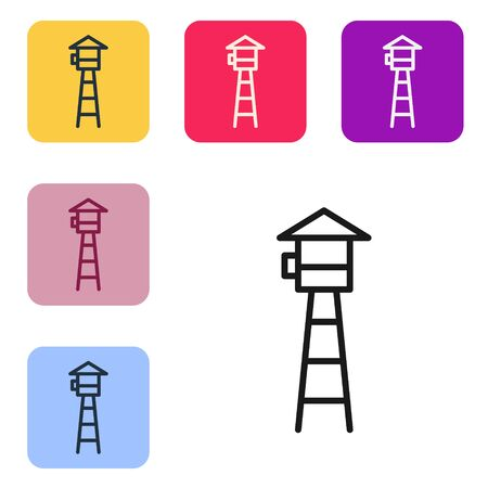 Black line Watch tower icon isolated on white background. Prison tower, checkpoint, protection territory, state border, military base. Set icons in color square buttons. Vector Illustration