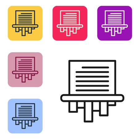 Black line Paper shredder confidential and private document office information protection icon isolated on white background. Set icons in color square buttons. Vector Illustration Иллюстрация