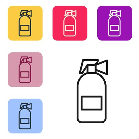 Black line Fire extinguisher icon isolated on white background. Set icons in color square buttons. Vector Illustration Ilustrace