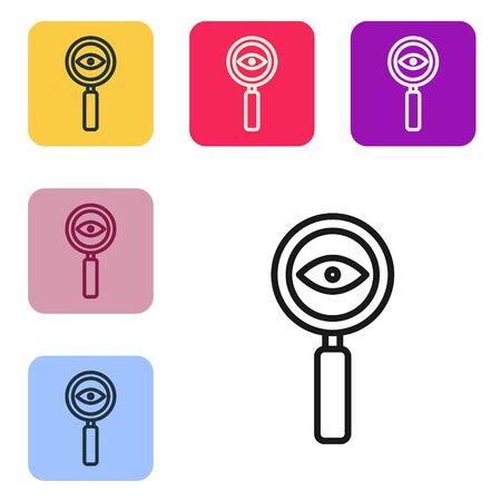 Black line Magnifying glass icon isolated on white background. Search, focus, zoom, business symbol. Set icons in color square buttons. Vector Illustration