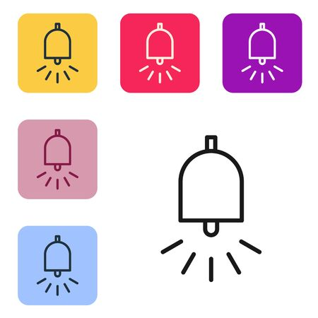 Black line Ringing alarm bell icon isolated on white background. Fire alarm system. Service bell, handbell sign, notification symbol. Set icons in color square buttons. Vector Illustration