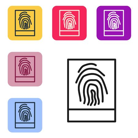 Black line Fingerprint icon isolated on white background. ID app icon. Identification sign. Touch id. Set icons in color square buttons. Vector Illustration Ilustrace