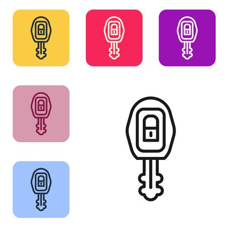 Black line Car key with remote icon isolated on white background. Car key and alarm system. Set icons in color square buttons. Vector Illustration Ilustrace
