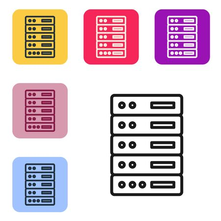 Black line Server, Data, Web Hosting icon isolated on white background. Set icons in color square buttons. Vector Illustration