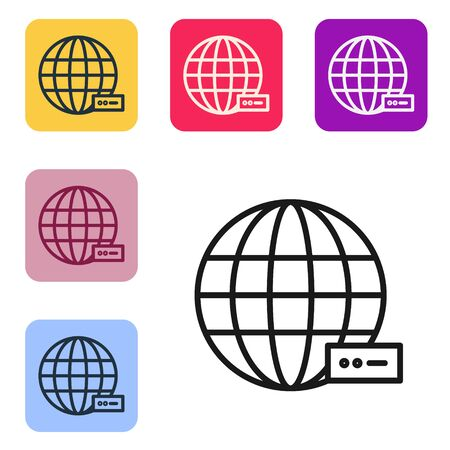 Black line Global technology or social network icon isolated on white background. Set icons in color square buttons. Vector Illustration