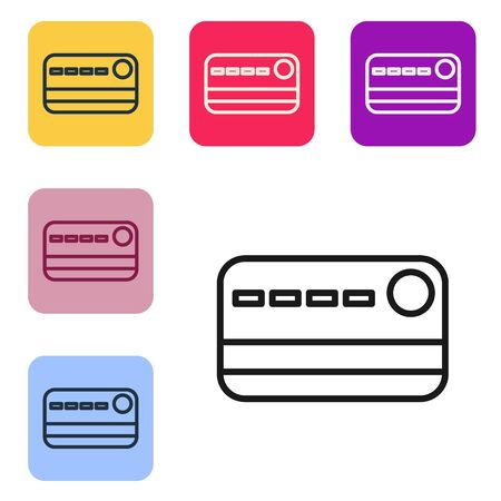 Black line Credit card icon isolated on white background. Online payment. Cash withdrawal. Financial operations. Shopping sign. Set icons in color square buttons. Vector Illustration