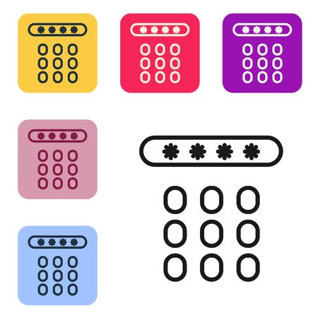 Black line Password protection and safety access icon isolated on white background. Security, safety, protection, privacy concept. Set icons in color square buttons. Vector Illustration Ilustrace