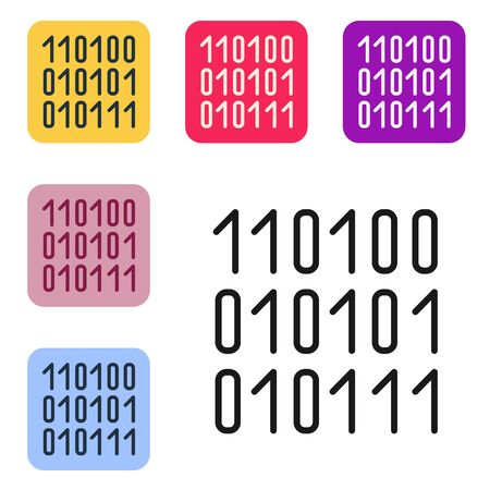 Black line Binary code icon isolated on white background. Set icons in color square buttons. Vector Illustration Ilustrace