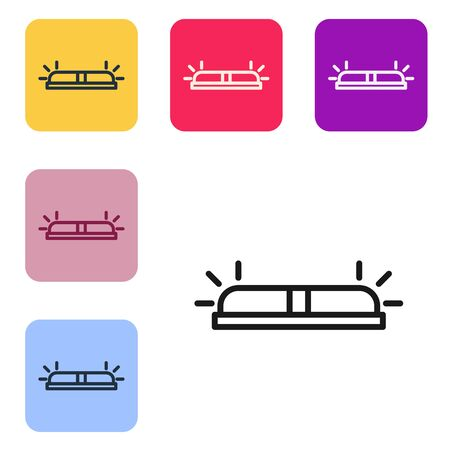 Black line Flasher siren icon isolated on white background. Emergency flashing siren. Set icons in color square buttons. Vector Illustration Ilustrace