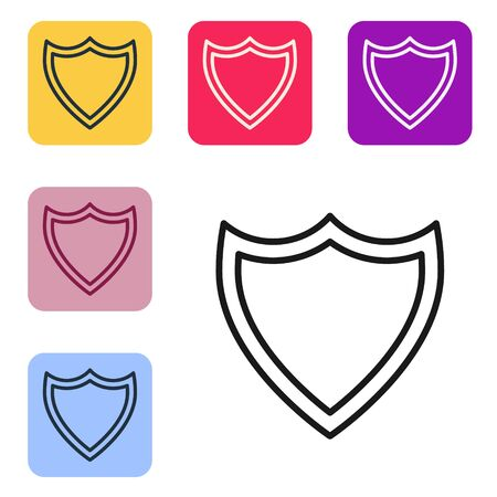 Black line Shield icon isolated on white background. Guard sign. Security, safety, protection, privacy concept. Set icons in color square buttons. Vector Illustration Ilustracja