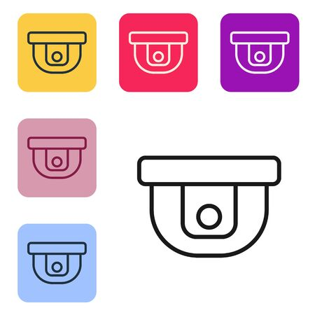 Black line Motion sensor icon isolated on white background. Set icons in color square buttons. Vector Illustration