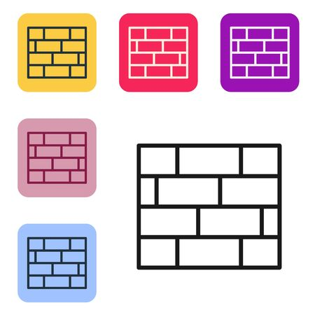 Black line Bricks icon isolated on white background. Set icons in color square buttons. Vector Illustration