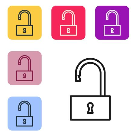 Black line Open padlock icon isolated on white background. Opened lock sign. Cyber security concept. Digital data protection. Set icons in color square buttons. Vector Illustration