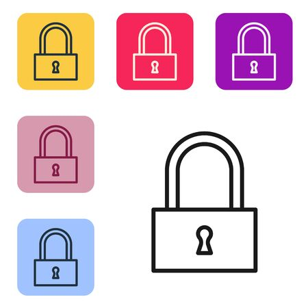 Black line Lock icon isolated on white background. Padlock sign. Security, safety, protection, privacy concept. Set icons in color square buttons. Vector Illustration
