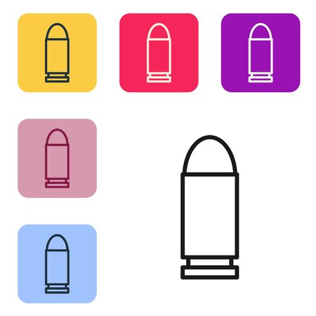 Black line Bullet icon isolated on white background. Set icons in color square buttons. Vector Illustration