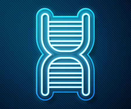 Glowing neon line DNA symbol icon isolated on blue background.  Vector Illustration