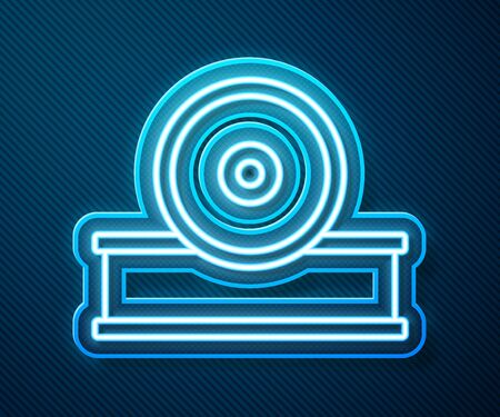 Glowing neon line Otolaryngological head reflector icon isolated on blue background. Equipment for inspection the patients ear, throat and nose. Vector Illustration Illustration