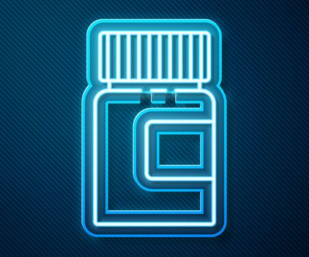 Glowing neon line Medicine bottle icon isolated on blue background. Bottle pill sign. Pharmacy design. Vector Illustration